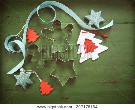 Vintage Green Wood Background Christmas Holiday Background