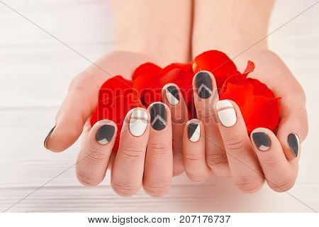 Manicured hands holding red petals. Well-groomed hands with rose petals close up. Nails and hands treatment concept.