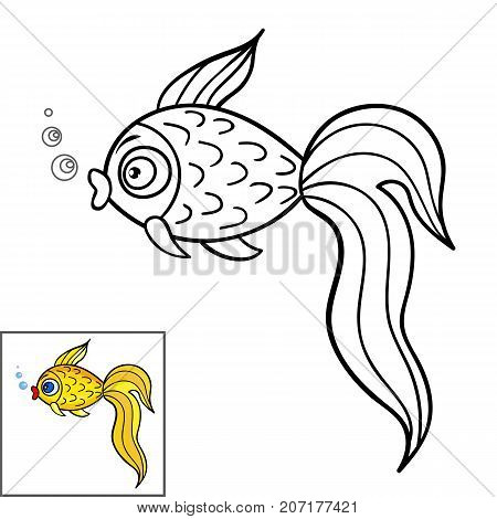 Coloring book page for kids.Cute Cartoon goldfish. Vector illustration.Hand drawn doodle.Sample coloring in the corner.