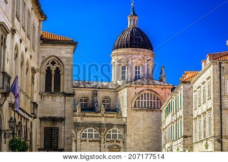 Closeup view at old stone architectural details in famous Dubrovnik city, croatian travel places.