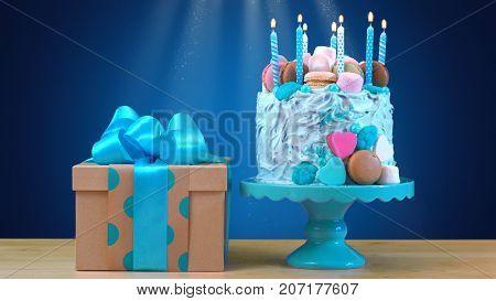 Blue Birthday Celebration Showstopper Cake