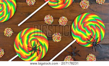 Halloween Trick Or Treat Rainbow Lollipops Overhead