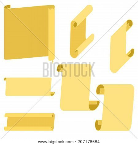 Golden or rusty flat scroll, wide ribbons, parchment, papyrus, old paper. Decoration for banner, invitation, greeting card. Vector illustration on isolated background.