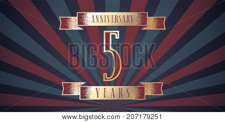 5 years anniversary vector icon logo. Graphic design element with abstract background for 5th anniversary card