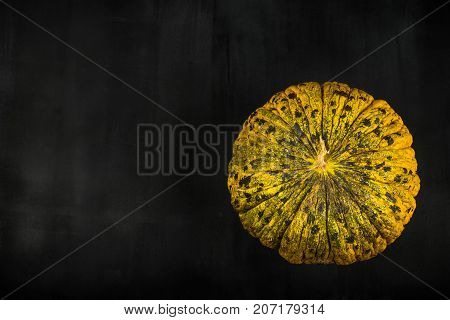 fresh sweet Melon on black wooden background