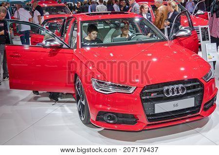 Frankfurt-September 20: Audi S6 at the Frankfurt International Motor Show on September 20 2017 in Frankfurt