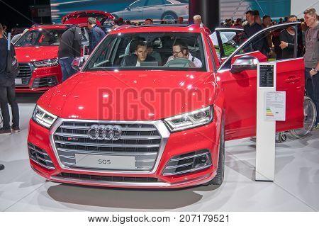 Frankfurt-September 20: Audi SQ5 at the Frankfurt International Motor Show on September 20 2017 in Frankfurt