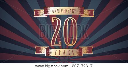 20 years anniversary vector icon logo. Graphic design element with abstract background for 20th anniversary card