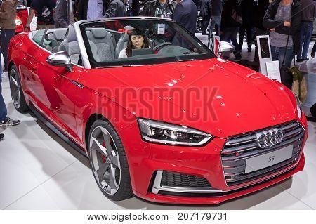 Frankfurt-September 20: Audi S5 at the Frankfurt International Motor Show on September 20 2017 in Frankfurt