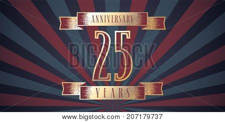 25 years anniversary vector icon logo. Graphic design element with abstract background for 25th anniversary card