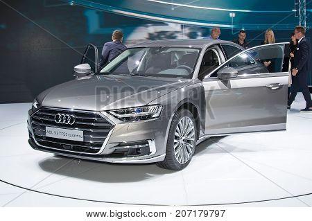 Frankfurt-September 20: World premiere of Audi A8L at the Frankfurt International Motor Show on September 20 2017 in Frankfurt