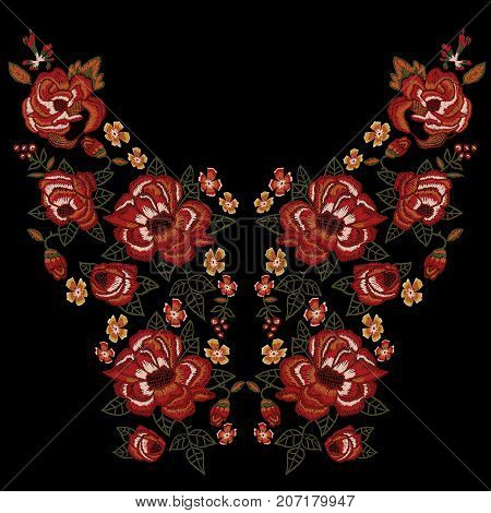 Embroidery ethnic neckline pattern with red roses. Vector embroidered floral patch with flowers for clothing design.