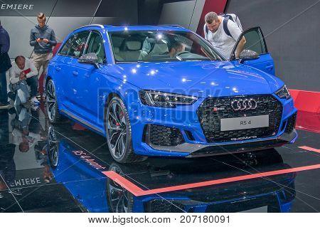 Frankfurt-September 20: World premiere of Audi RS4 avant at the Frankfurt International Motor Show on September 20 2017 in Frankfurt