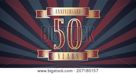 50 years anniversary vector icon logo. Graphic design element with abstract background for 50th anniversary card