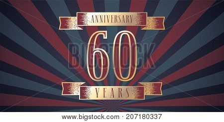 60 years anniversary vector icon logo. Graphic design element with abstract background for 60th anniversary card
