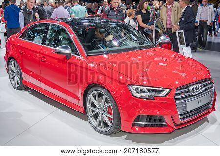 Frankfurt-September 20: Audi S3 at the Frankfurt International Motor Show on September 20 2017 in Frankfurt
