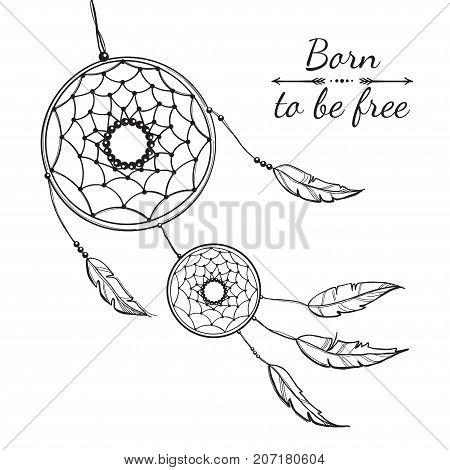 Detailed dreamcatcher with tribal ornament. Vector illustartion