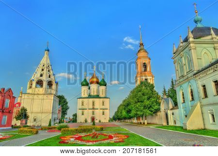 The ensemble of buildings on the Cathedral Square at Kolomna Kremlin - Moscow region, Russia
