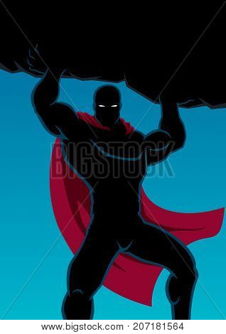 Superhero lifting huge boulder with black copy space.