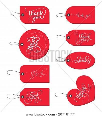 Collection set of red paper gift tags with text Thank you. Calligraphy lettering hand made text. Vector illustration EPS10.