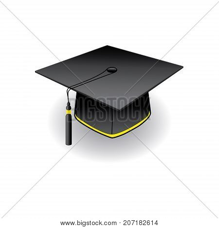 Graduation student cap with golden elements on white