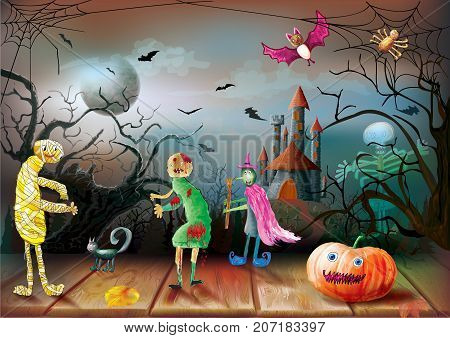 Halloween night on the background of the full moon and dark castle with pumpkin zombi witch mummy. Vector