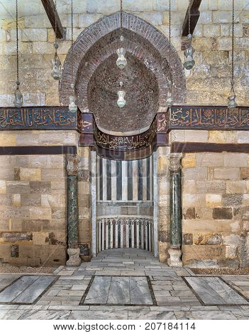 Cairo, Egypt - September 23, 2017: Mihrab (Niche) of Mausoleum of As-Saleh Nagm Ad-Din Ayyub Al Moez Street Old Cairo Egypt