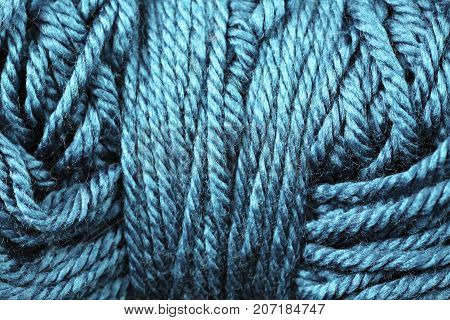 A super close up image of sapphire yarn