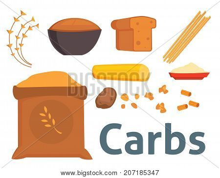 Food carbs isolated healthy ingredient bread diet meal carbohydrate group nutrition health superfood vector illustration. Rice wheat loaf organic eat gourmet balance energy product.