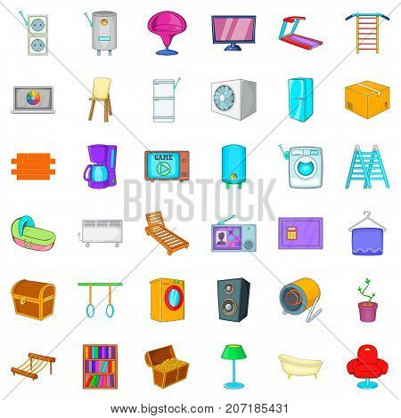 Refrigerator icons set. Cartoon style of 36 refrigerator vector icons for web isolated on white background
