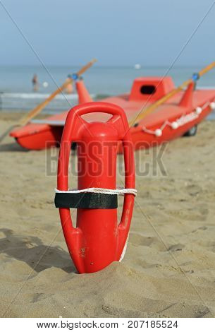 Lifebuoy And Lifeguard Rescue Boat