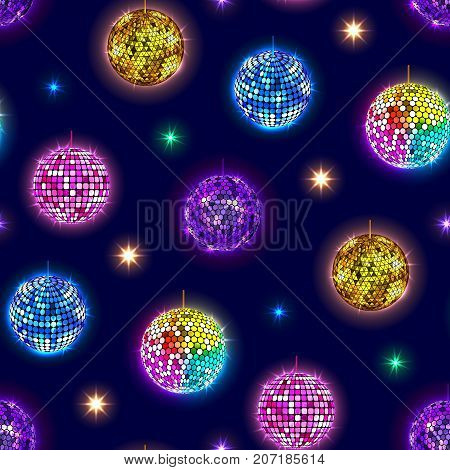 Disco mirror balls party vector seamless pattern. Disco ball dance shine design round shiny music entertainment.