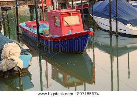 Small Fishing Boat Moored In The Marina