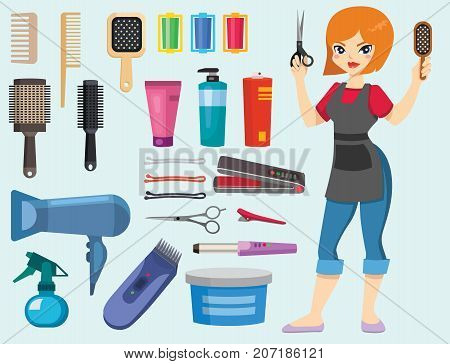 Fashion hairdresser with hair clipper and hairbrush isolated professional stylish barber tools for cutting vector illustration. Client glamour hairdressing work. poster