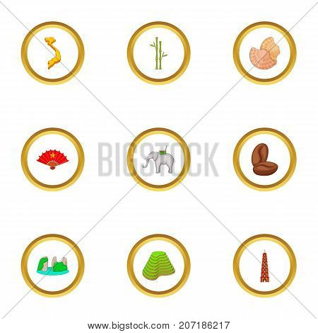 Typical Vietnam icons set. Cartoon style set of 9 typical Vietnam vector icons for web design