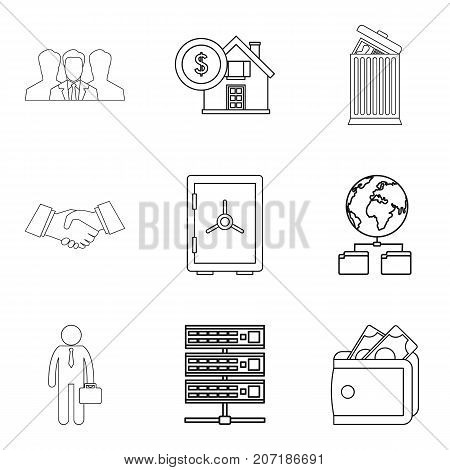 Loan conditions icons set. Outline set of 9 loan conditions vector icons for web isolated on white background