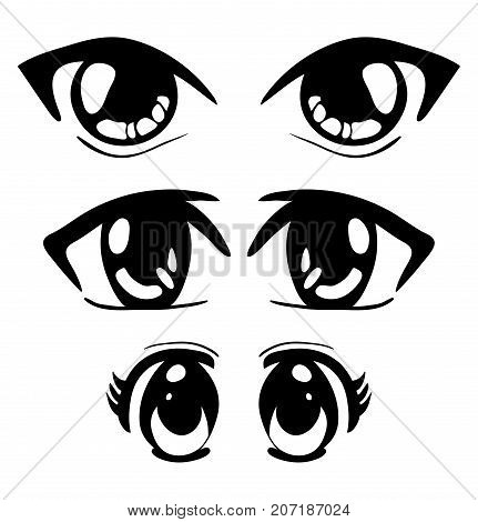 Manga Eyes Vector Symbol Icon Design. Beautiful Illustration Isolated On White Background