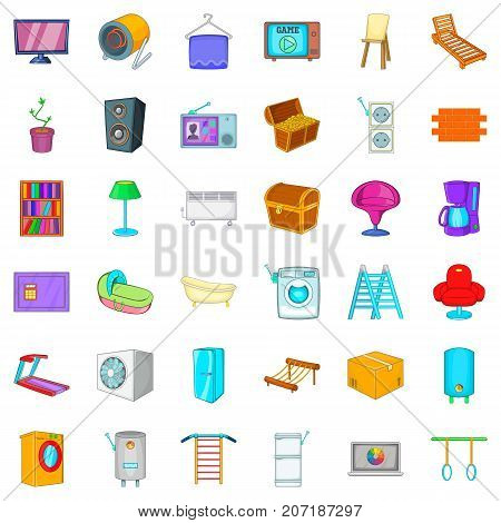 Household icons set. Cartoon style of 36 household vector icons for web isolated on white background