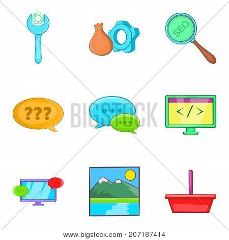 Programming icons set. Cartoon set of 9 programming vector icons for web isolated on white background