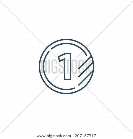 Tokens with number one, first level, upgrade concept, round classification mono line vector icons