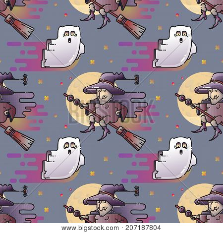 Ghost and witch seamless pattern. Cute cartoon flying ghost, witch on a broom and Moon isolated on blue background.