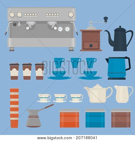 Coffee making equipment.Isolated vector objects.Coffee Icon Set. Flat Vector illustration