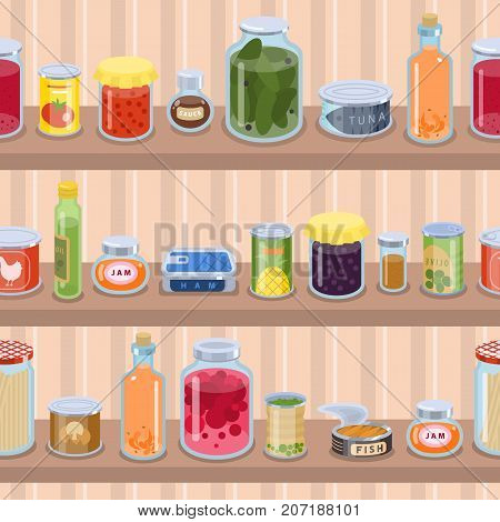 Collection of various tins canned goods food metal container product on shop shelf vector illustration