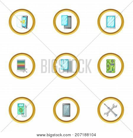 Broken phones fix icons set. Cartoon style set of 9 broken phones fix vector icons for web design