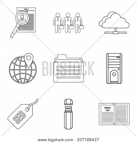 SEO optimization icons set. Outline set of 9 seo optimization vector icons for web isolated on white background