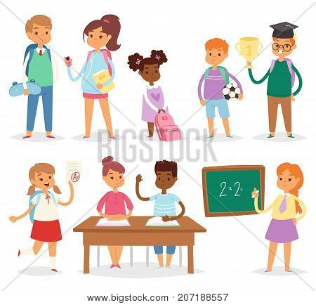 Back to school kids boys and girls children school-time vector illustration