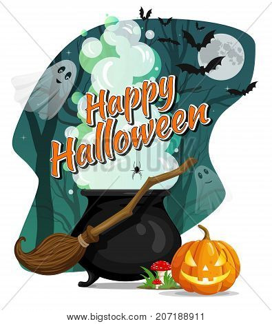 Happy Halloween. Vector flyer. Witcher cauldron with magic potion and steam in creepy dark forest with ghosts. Flying witches broom amanita and pumpkin