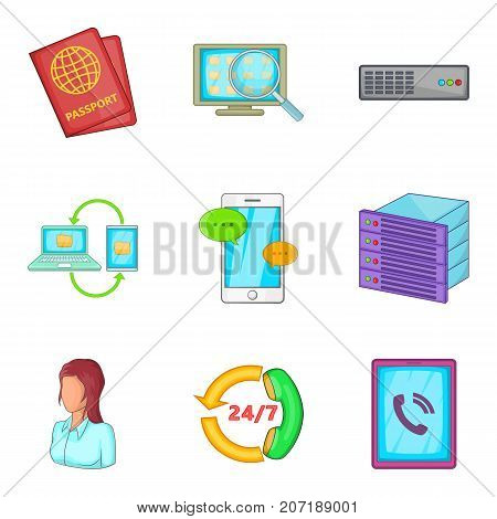 Data transfer to phone icons set. Cartoon set of 9 data transfer to phone vector icons for web isolated on white background