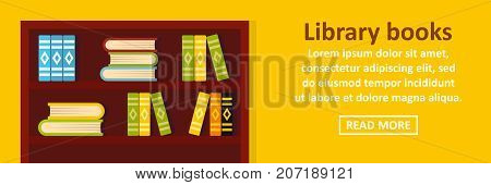 Library books banner horizontal concept. Flat illustration of library books banner horizontal vector concept for web design