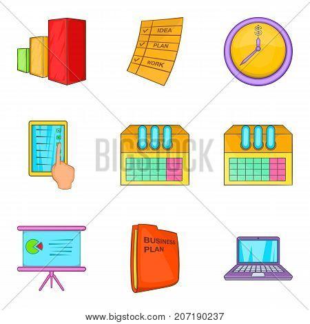 Large data center icons set. Cartoon set of 9 large data center vector icons for web isolated on white background